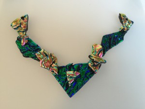 Fused Glass Dichroic Bib Necklace