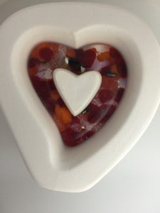 Fused Glass Holey Hollow Heart Pendant