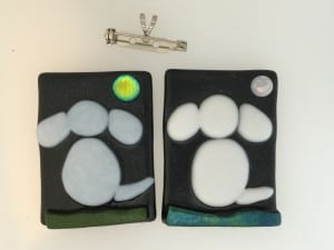 Custom fused glass Doggy pendant / brooches