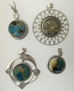 fused glass pebble snap pendants