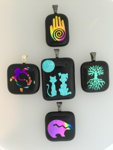 Fused glass dichroic pendants