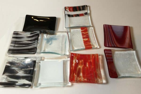 Samples of my Fused Glass Commercial soap dishes