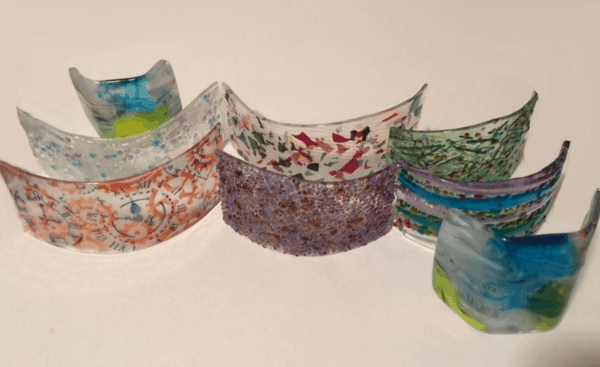 Fused Glass Candle Shields