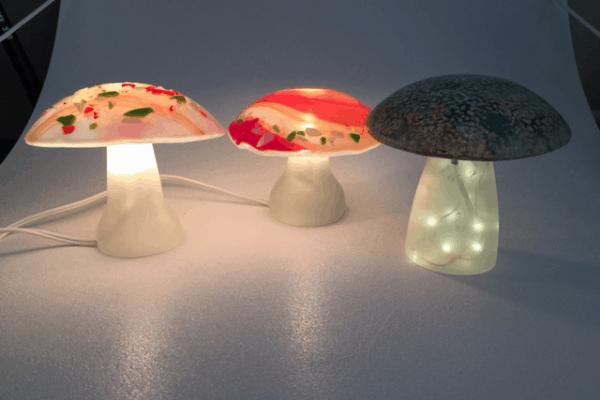 Fused Glass Mushroom lights