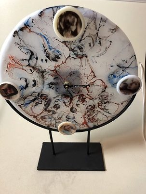 Fused Glass Clock with interchangeable pictures