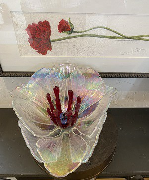 My Fused Glass Flower is Home