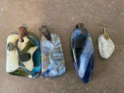 Fused Glass Pendants w/ pinch bails