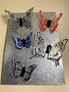 Silk Screened Glass Butterflies
