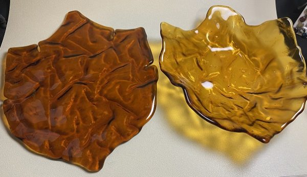 Fused Glass Amber Leaf Dish