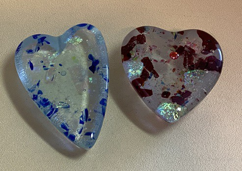 Casted Fused Glass Hearts