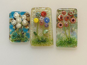 Fused Glass Flower Cabochons