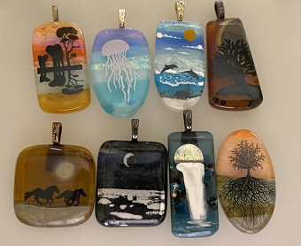 Fused Glass Scenic Pendants