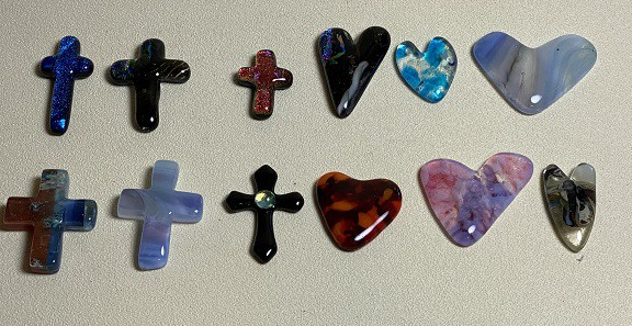 Pocket Fused Glass Hearts & Crosses